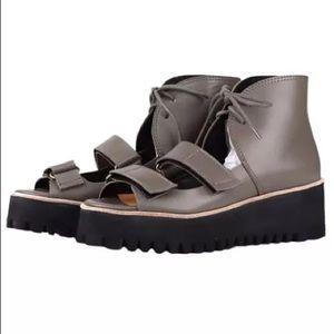 All Black Flatform multiband sandals